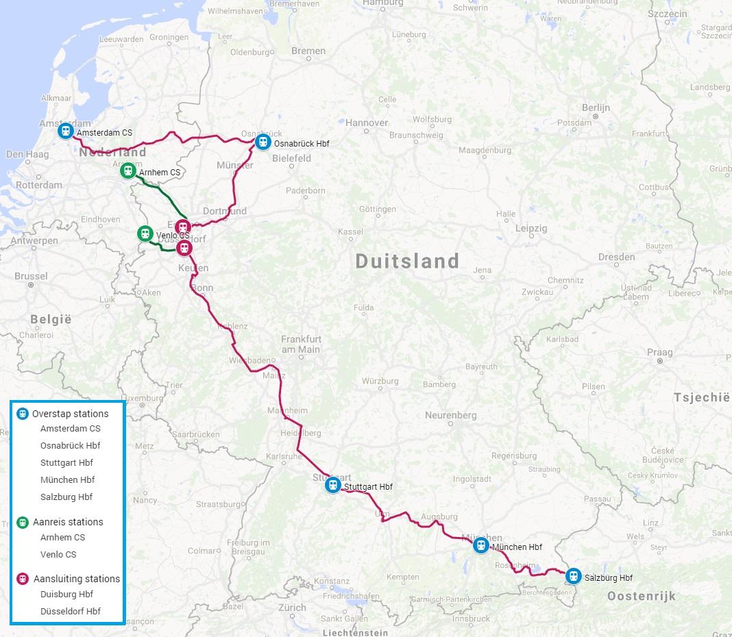 Trein en fiets naar Salzburg route