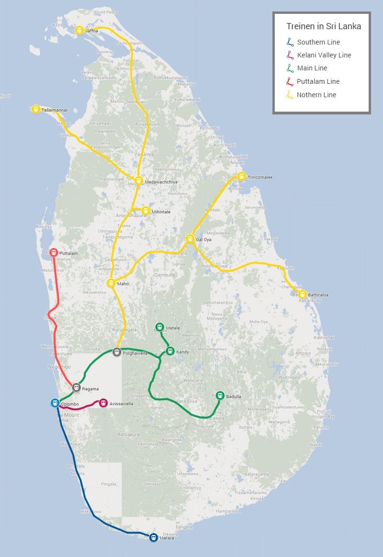 Spoorweg netwerk Sri Linka treinen