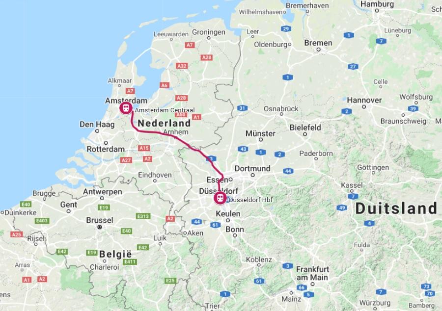 Route trein naar Düsseldorf