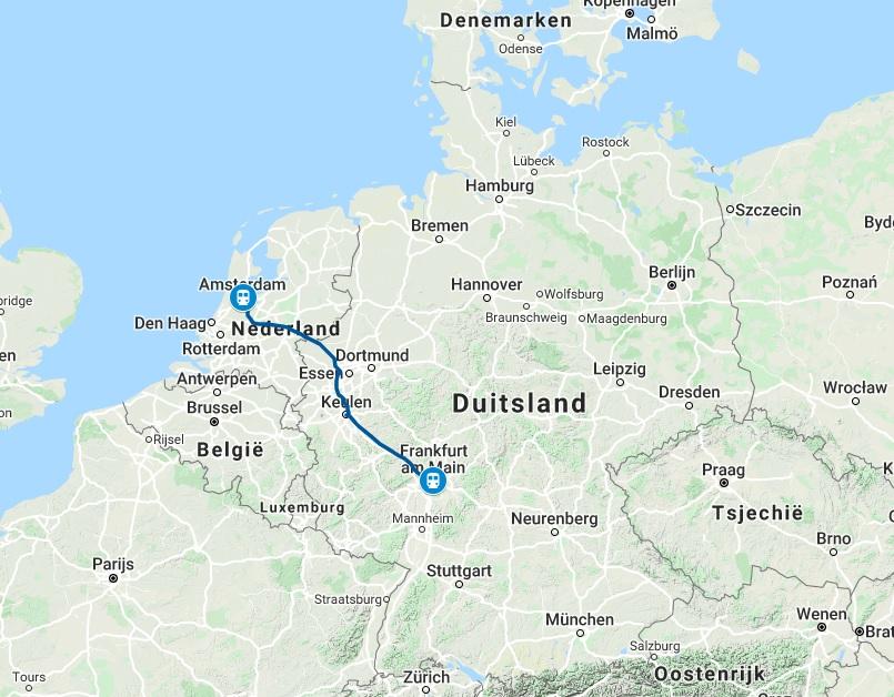 Route trein naar Frankfurt am Main