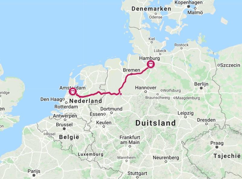 Route trein naar Hamburg