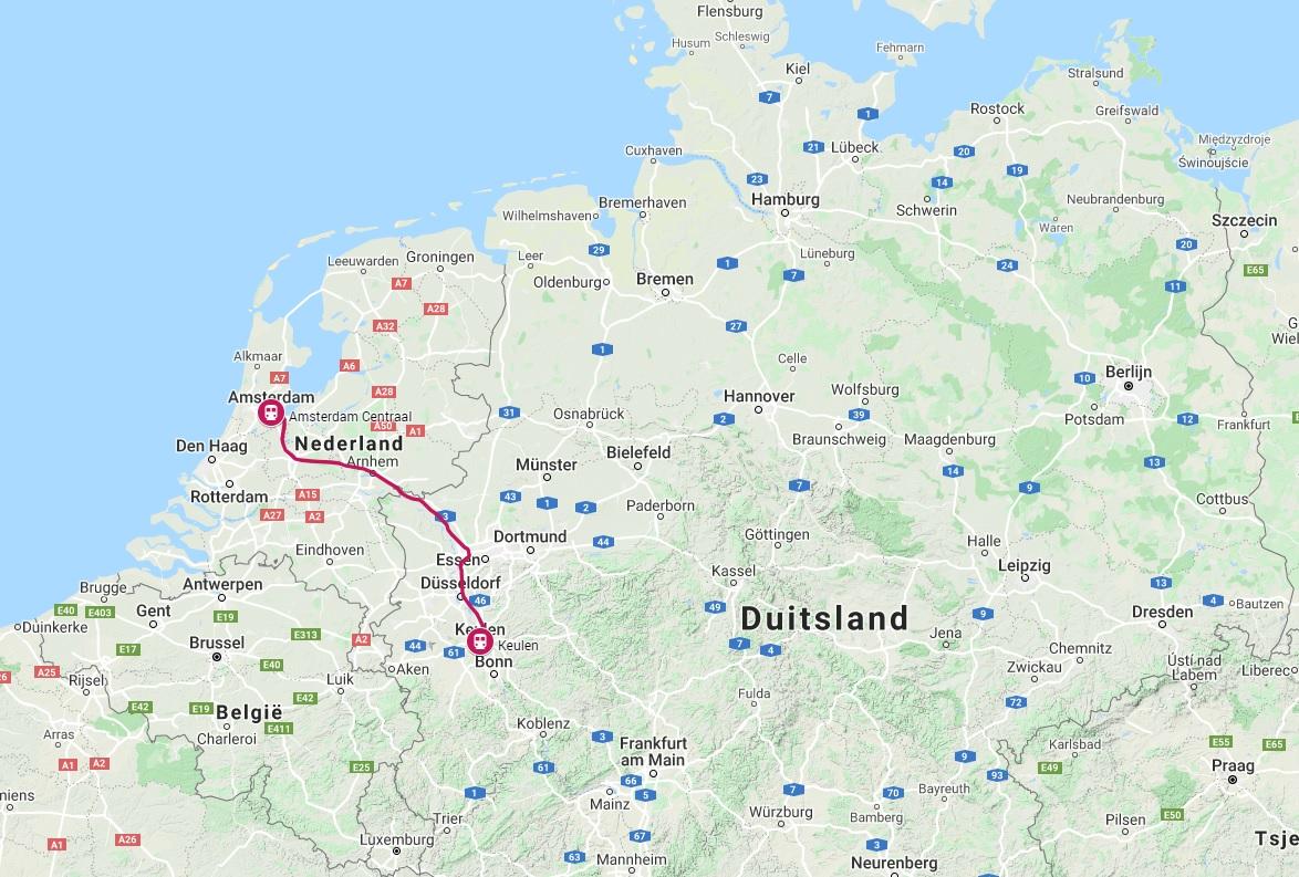 Route trein naar Keulen
