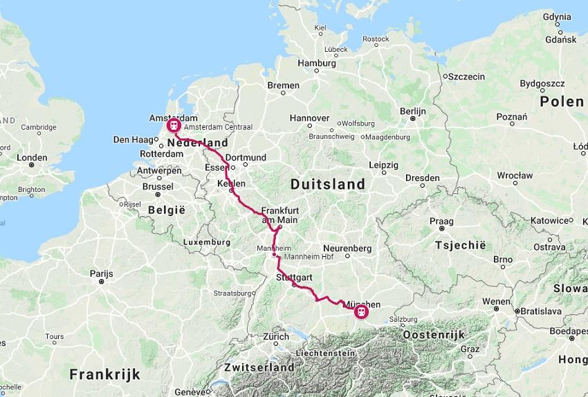 Route trein naar München
