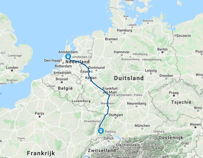 Route trein naar Freiburg