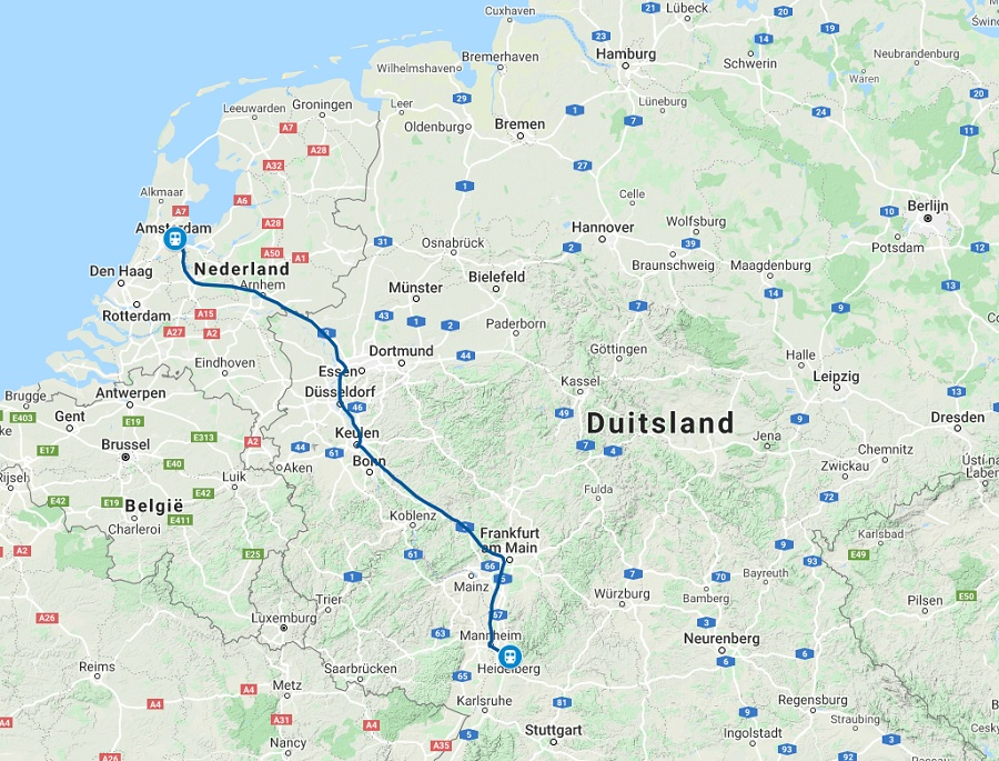 Route trein naar Heidelberg