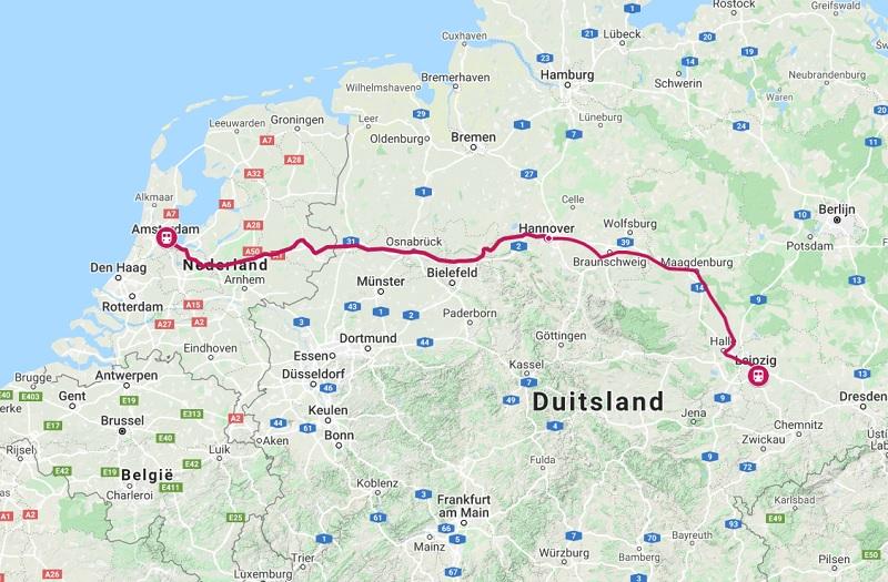 Route trein naar Leipzig