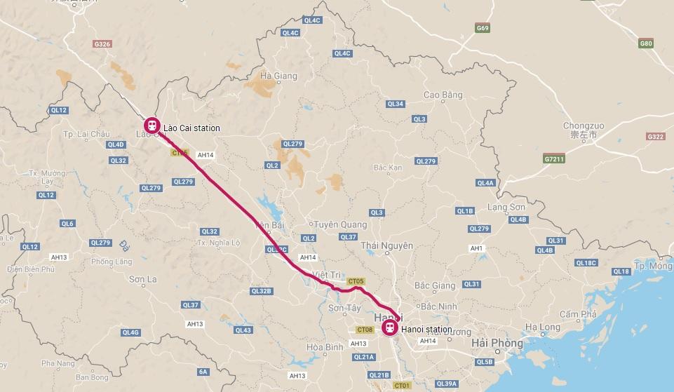 Trein van Hanoi naar Lao Cai Sapa