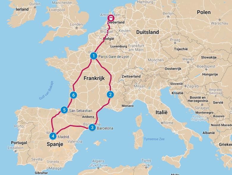 Interrail routes door Zuid-Europa