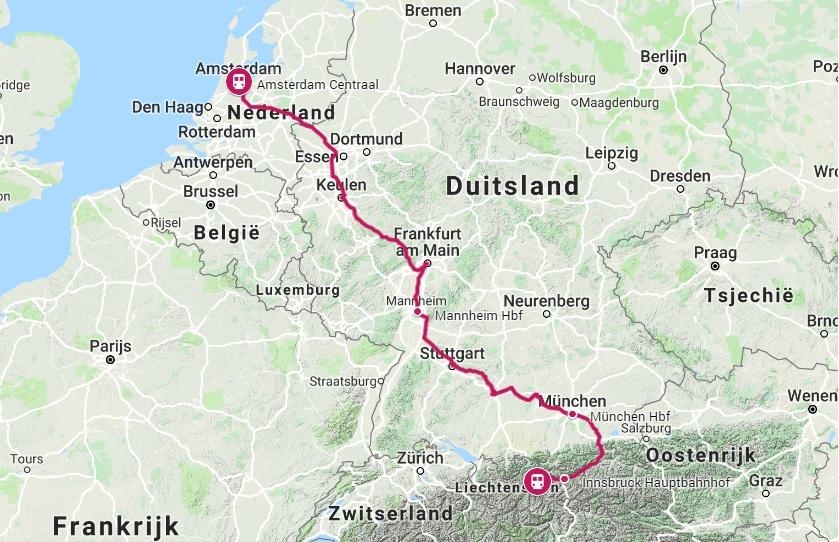 Route trein naar Ötztal