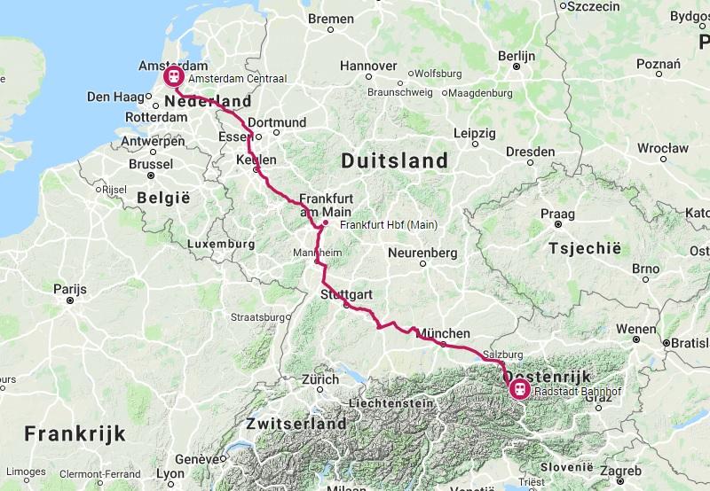 Route trein naar Radstadt