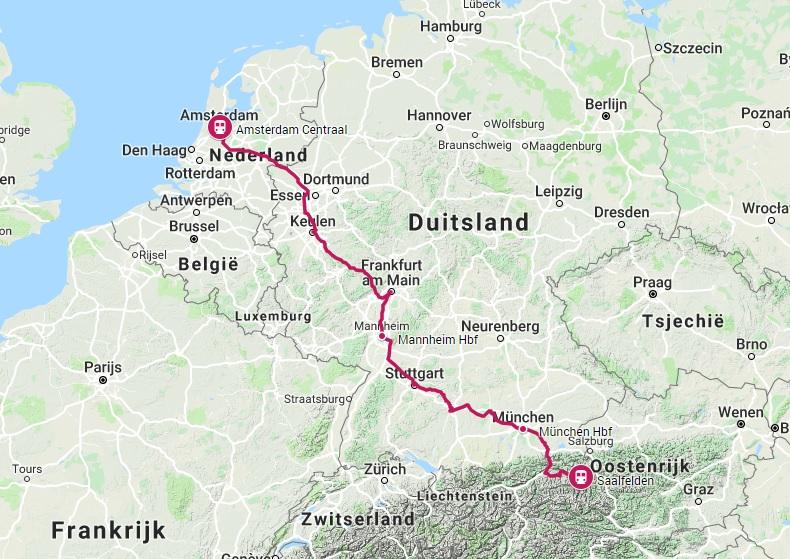 Route trein naar Saalfelden
