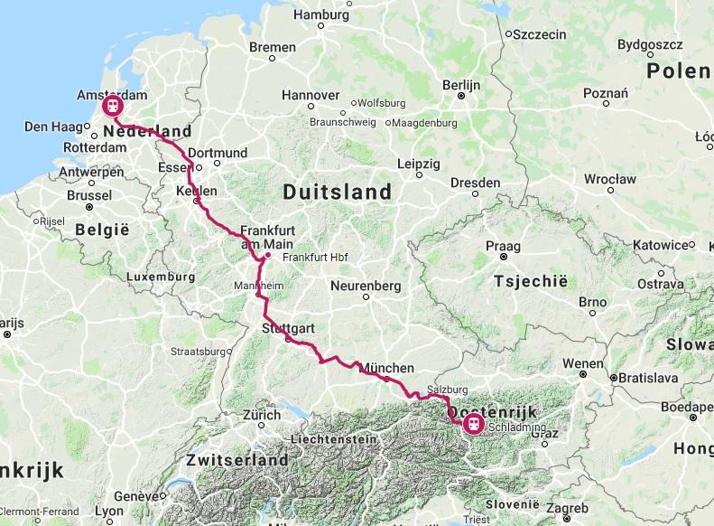 Route trein naar Schladming