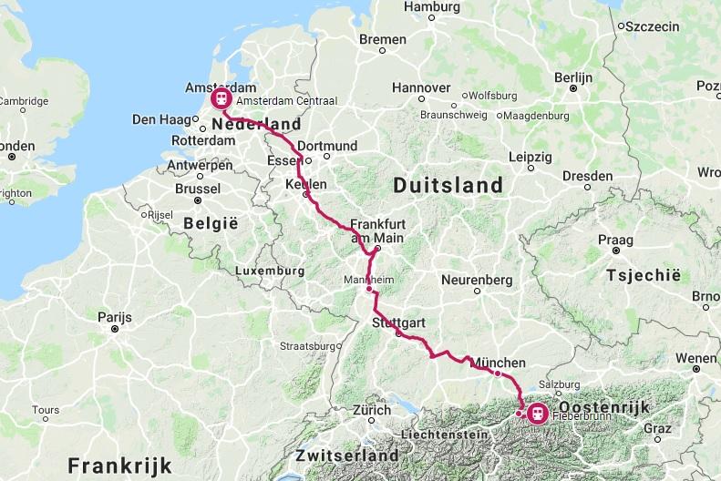 Verbinding trein naar Fieberbrunn