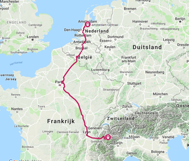 Sneeuw-Thalys trein naar Bourg Saint Maurice