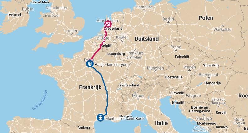 Route trein naar Montpellier in Frankrijk