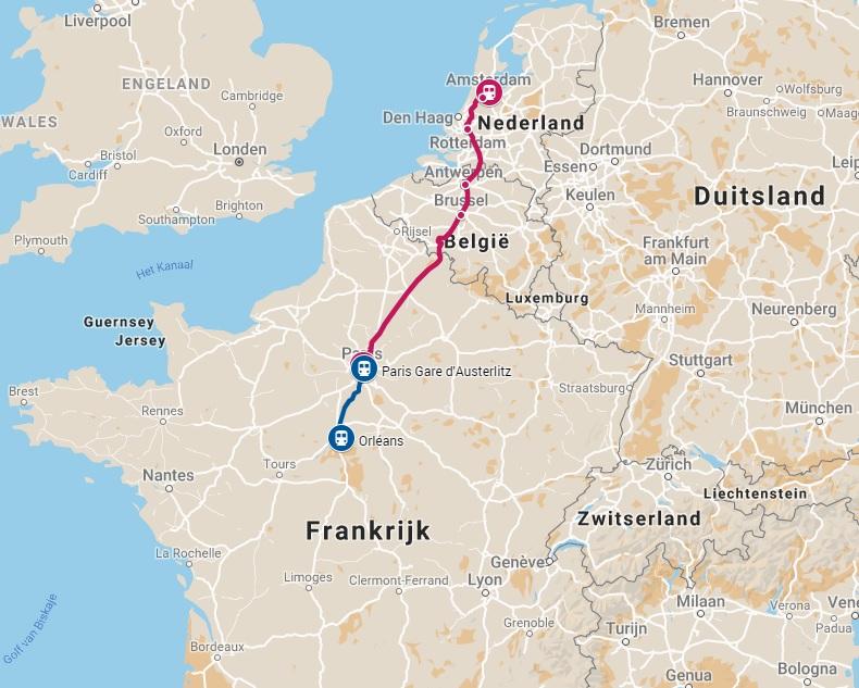 Route trein naar Orleans