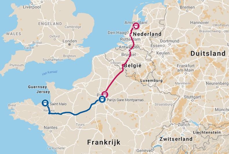Route trein naar Toulouse