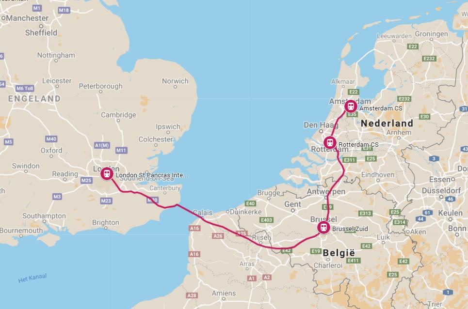 Route trein naar Londen