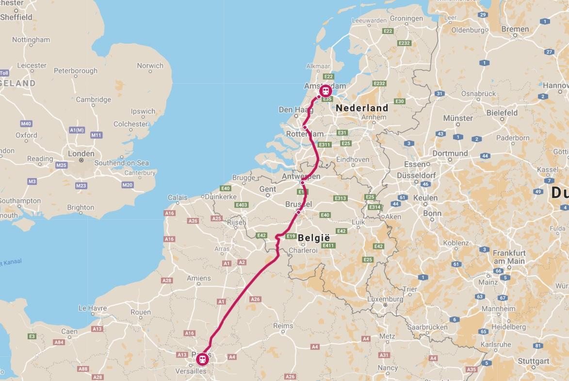 Route trein naar Parijs