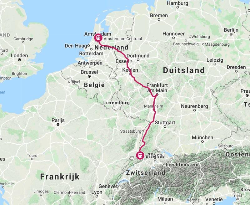 Route trein naar Bazel